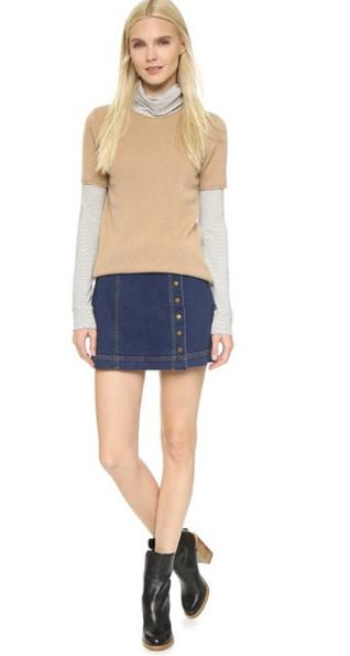 джинсовая юбка с водолазкой
